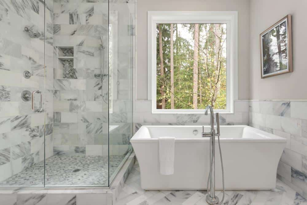 white and glass shower tile idea