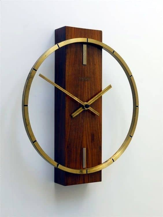 wood and metal artistic wall clock