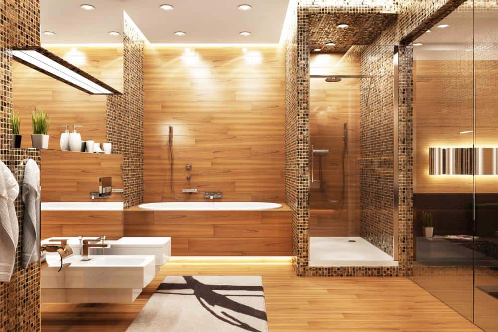 wood and mosaic shower tile idea