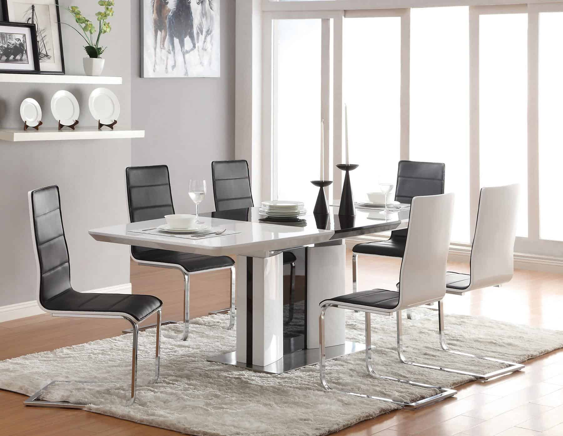 Awesome-Design-Of-The-Dining-Room-Areas-With-White-Wall-And-Grey-Rugs-And-White-And-Blak-Modern-Dining-Room-Chairs