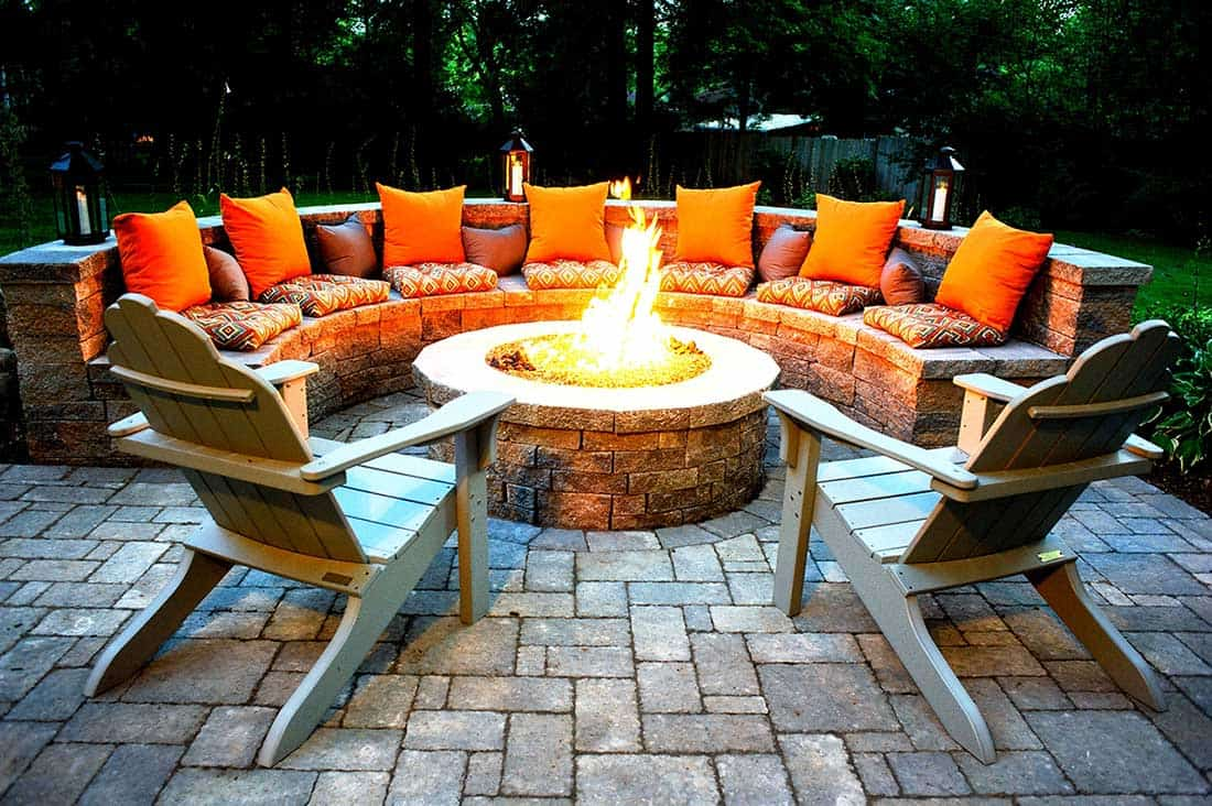Colorful fire pit seating