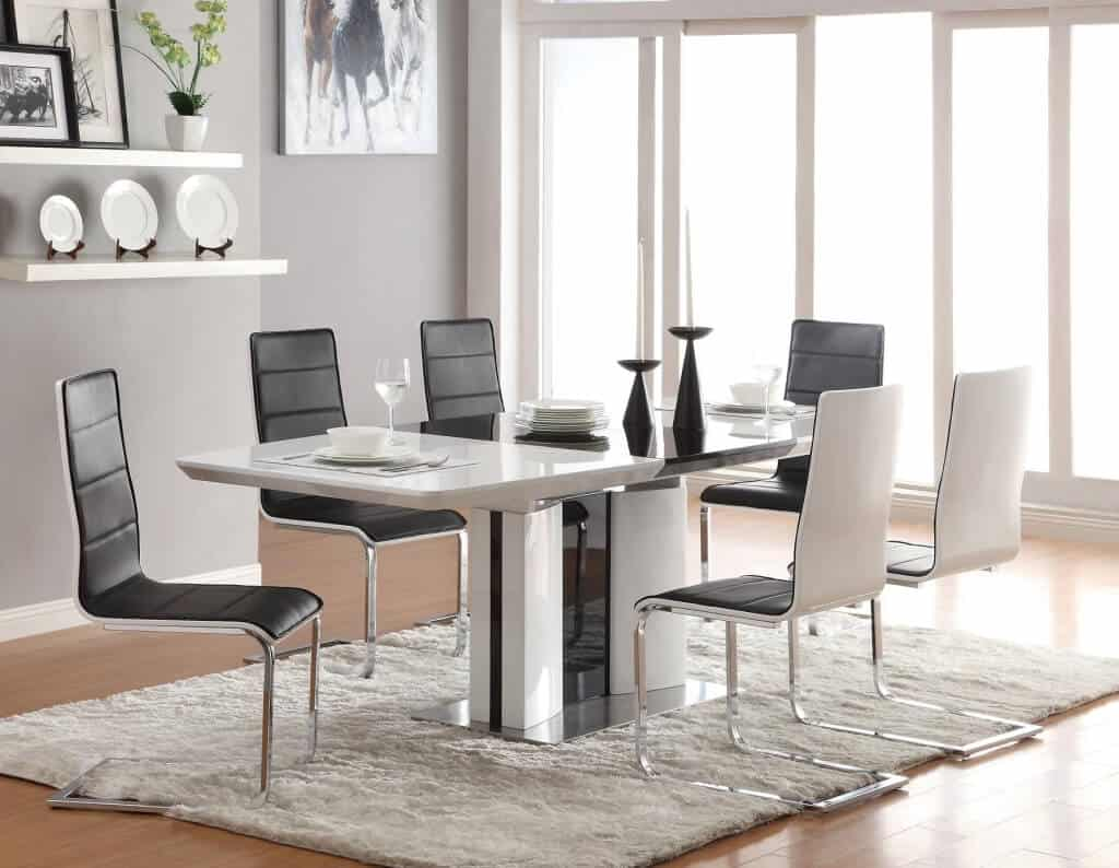 Contemporary-White-Dining-Table-With-Ingenious-Dining-Room-Chair-Design-Including-Dining-Room-Furniture-Dining-Room-Designs