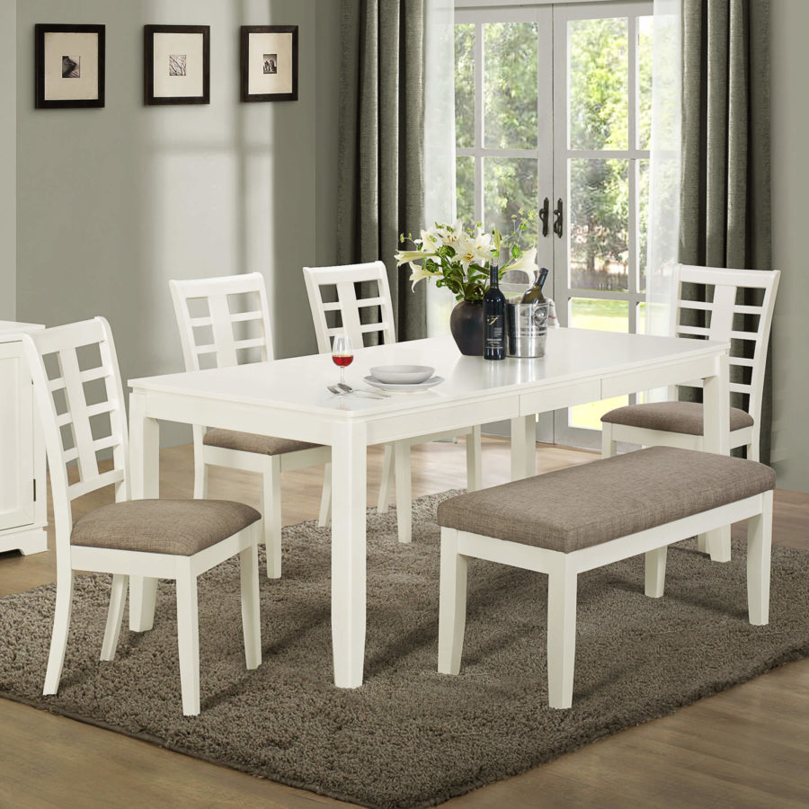 Dining Room Table With Chairs And Bench: Lighten Up Dinner Time With These 15 White Dining Room Tables