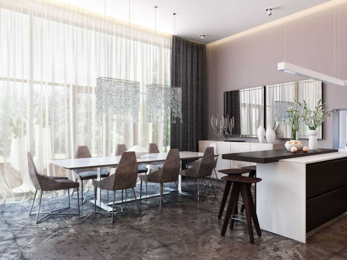 Modern-and-neutral-dining-room-with-a-unique-floor