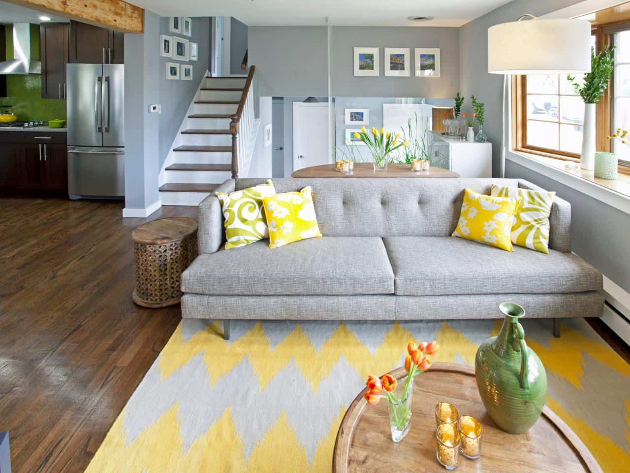 Patterned yellow pillows