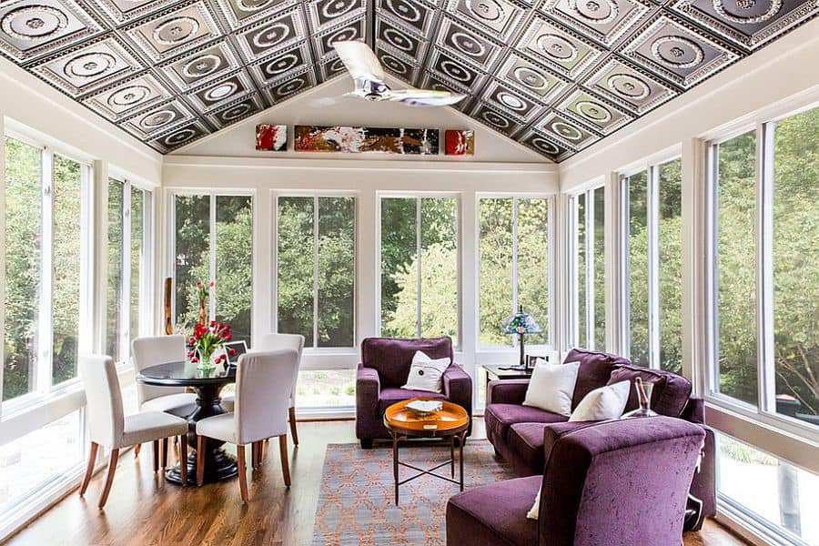 Snazzy-ceiling-for-the-contemporary-sunroom-and-decor-in-purple