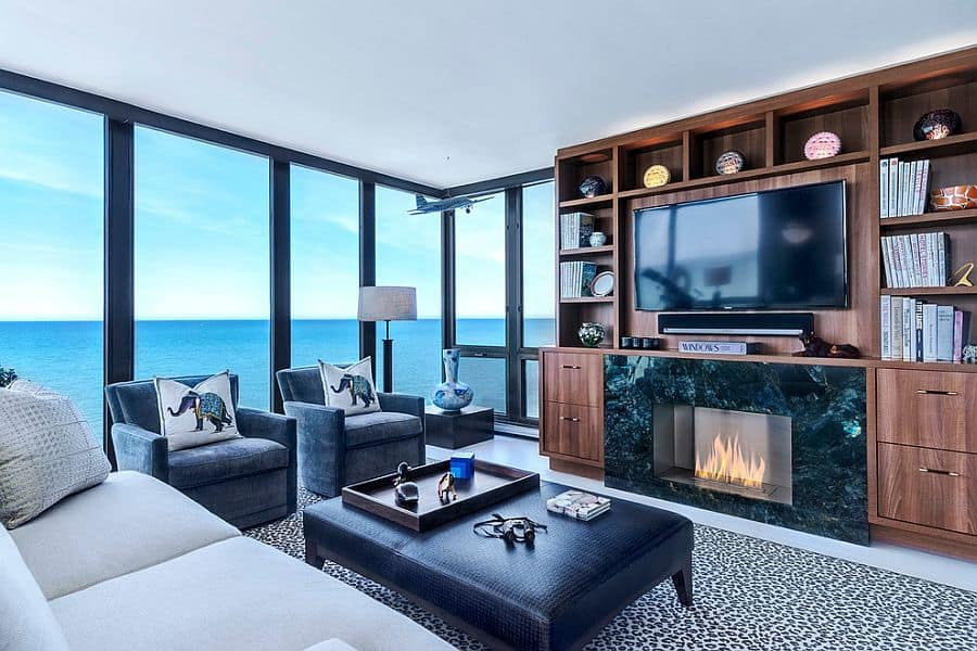 Stunning-sunroom-with-Walnut-Entertainment-Center-and-ocean-views