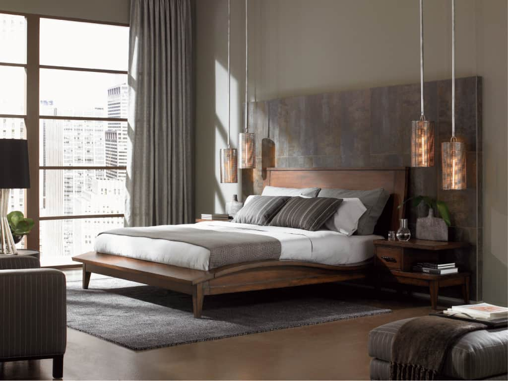 Superb-Design-Of-The-Gray-Bedroom-Furniture-With-Brown-Wooden-Floor-Ideas-Added-With-Grey-Curtain-And-Rugs-Ideas