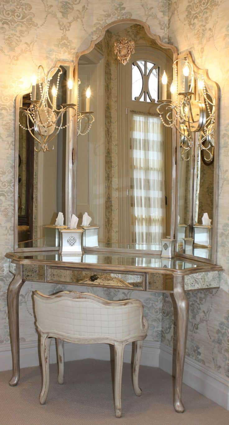 VICTORIAN GOLDEN corner vanity These 15 Corner Vanities Will Add A Bit of Luxury To Your Bedroom