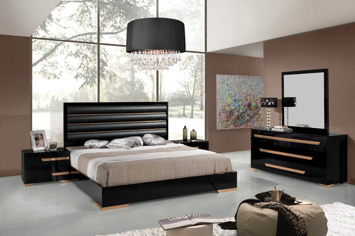 black and gold modern bed
