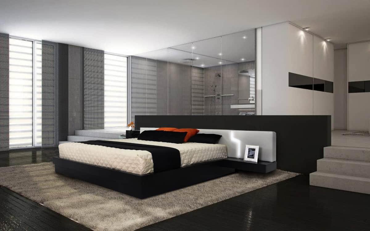 black contemporary platform bed