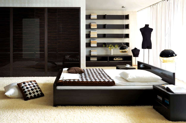 black low modern platform bed
