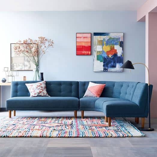 blue sectional sofa from west elm
