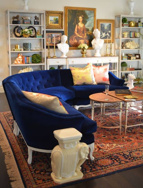 blue velvet curved sofa