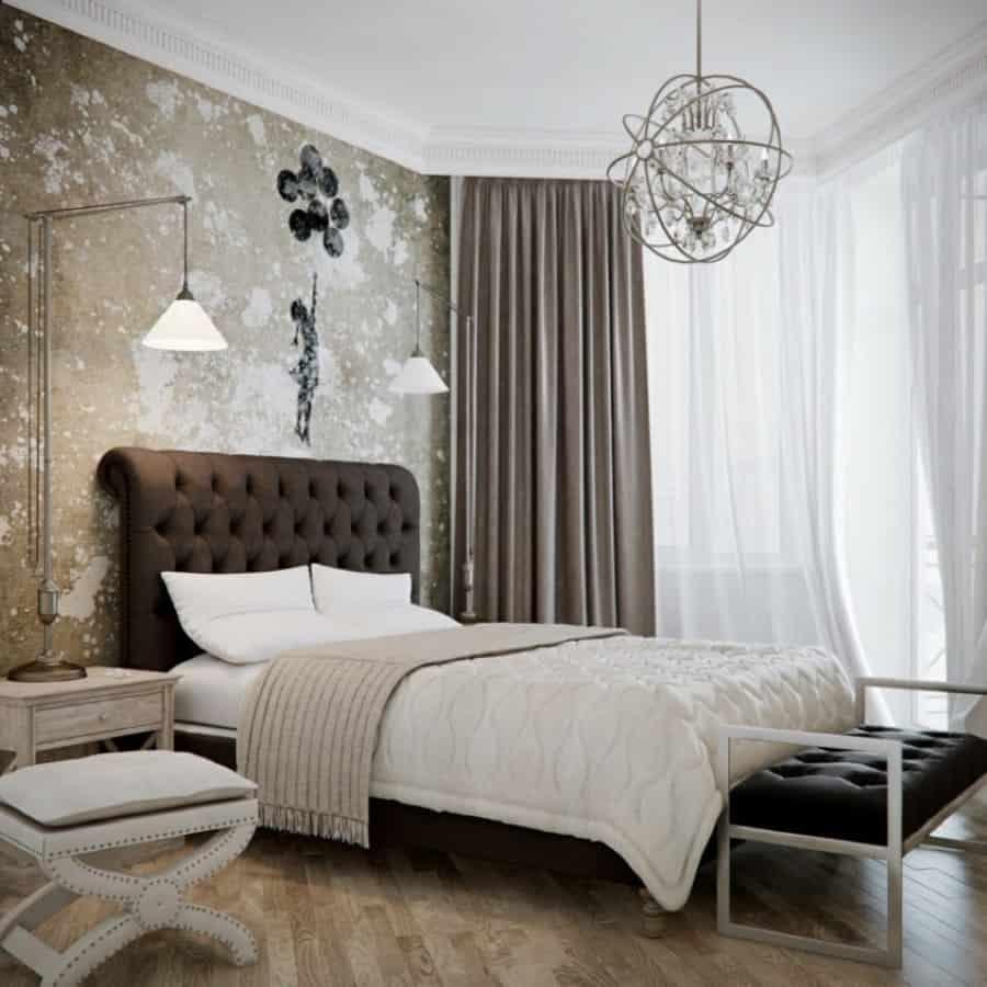 brass-globe-chandelier-for-midcentury-master-bedroom-lighting-idea