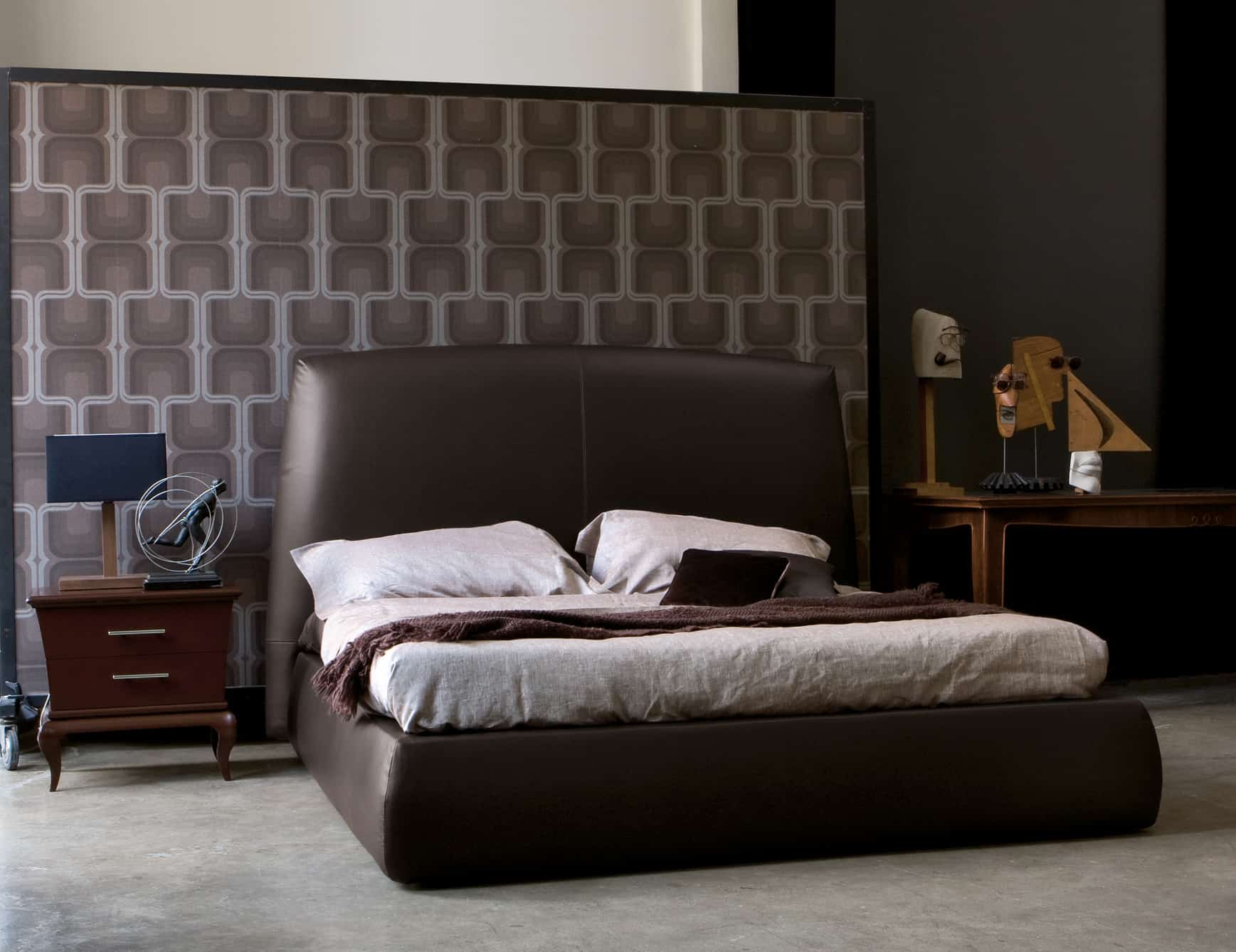 brown leather contemporary bed