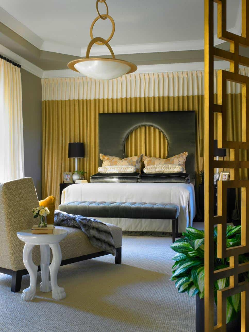 charcoal grey and mustard bedroom