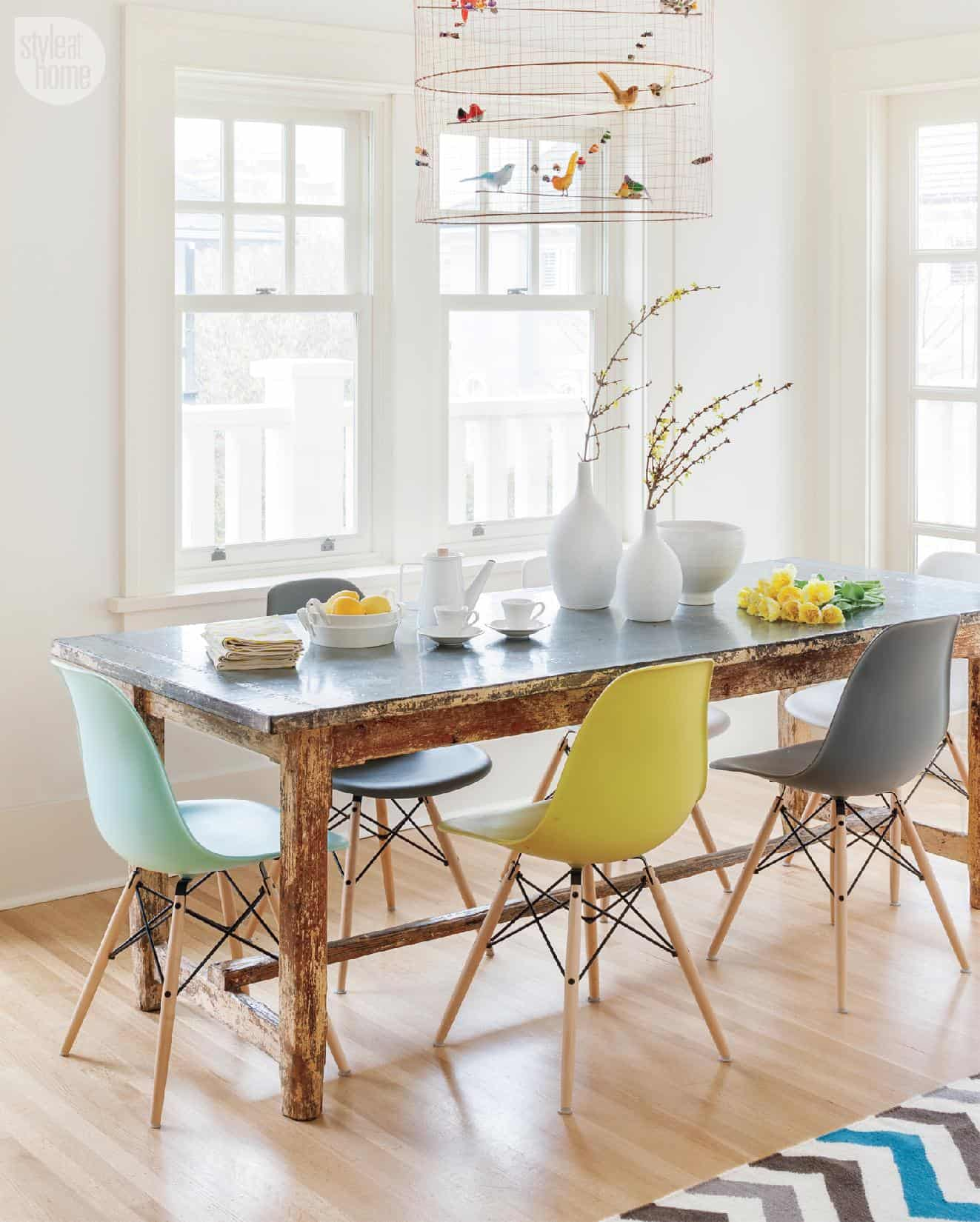 colorful modern dining room chairs