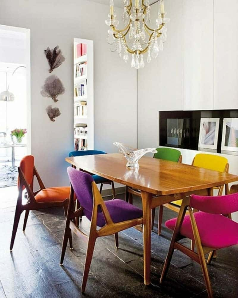 colorful modern wooden dining room office chairs