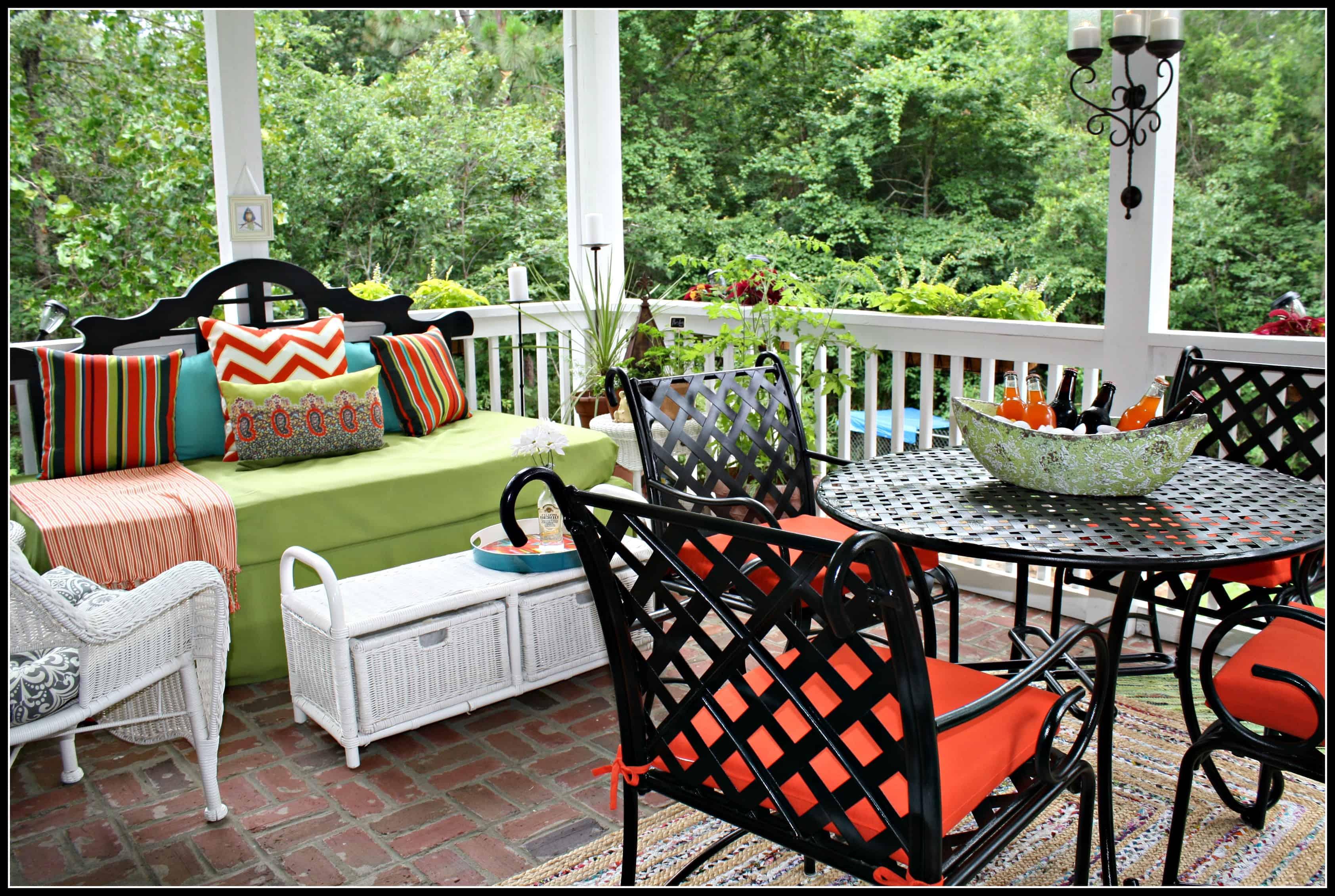 colorful simple back porch