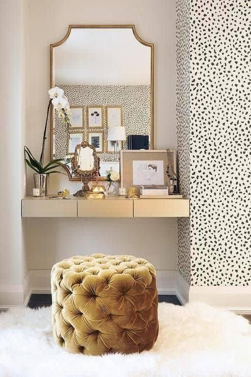corner vanity nook glam style