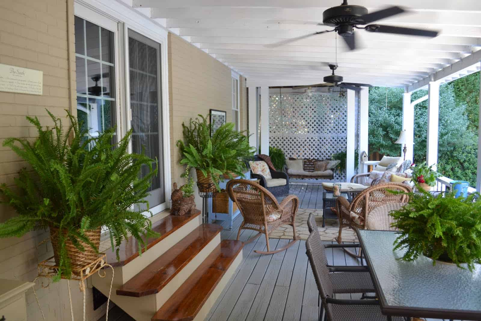 each back porch idea with greenery