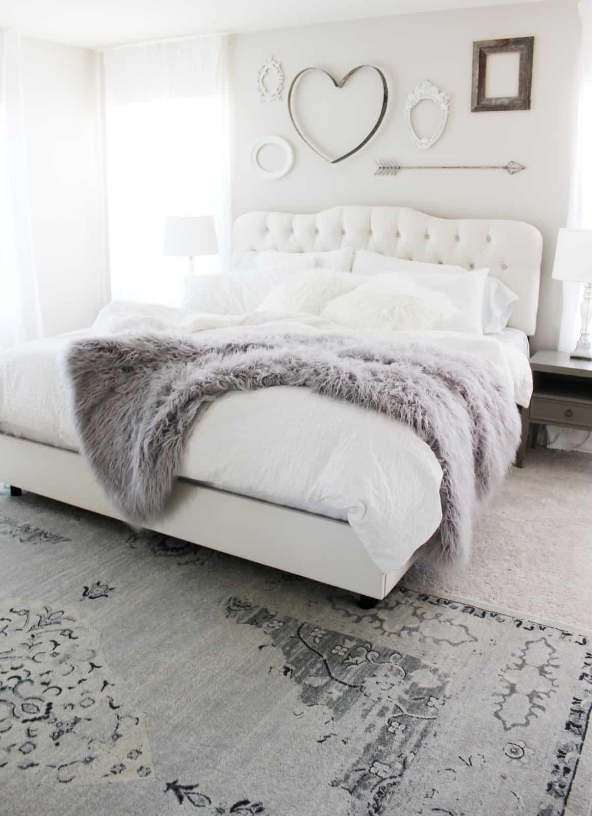 feminine gray and white bedroom