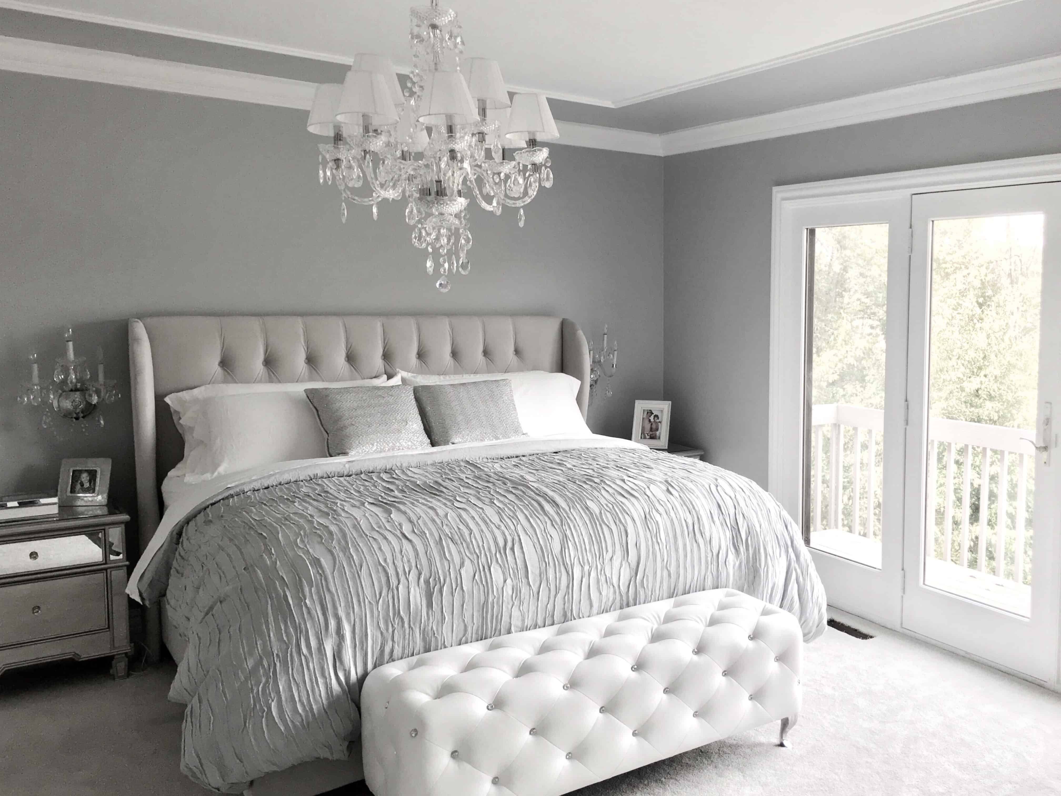 glam gray bedroom