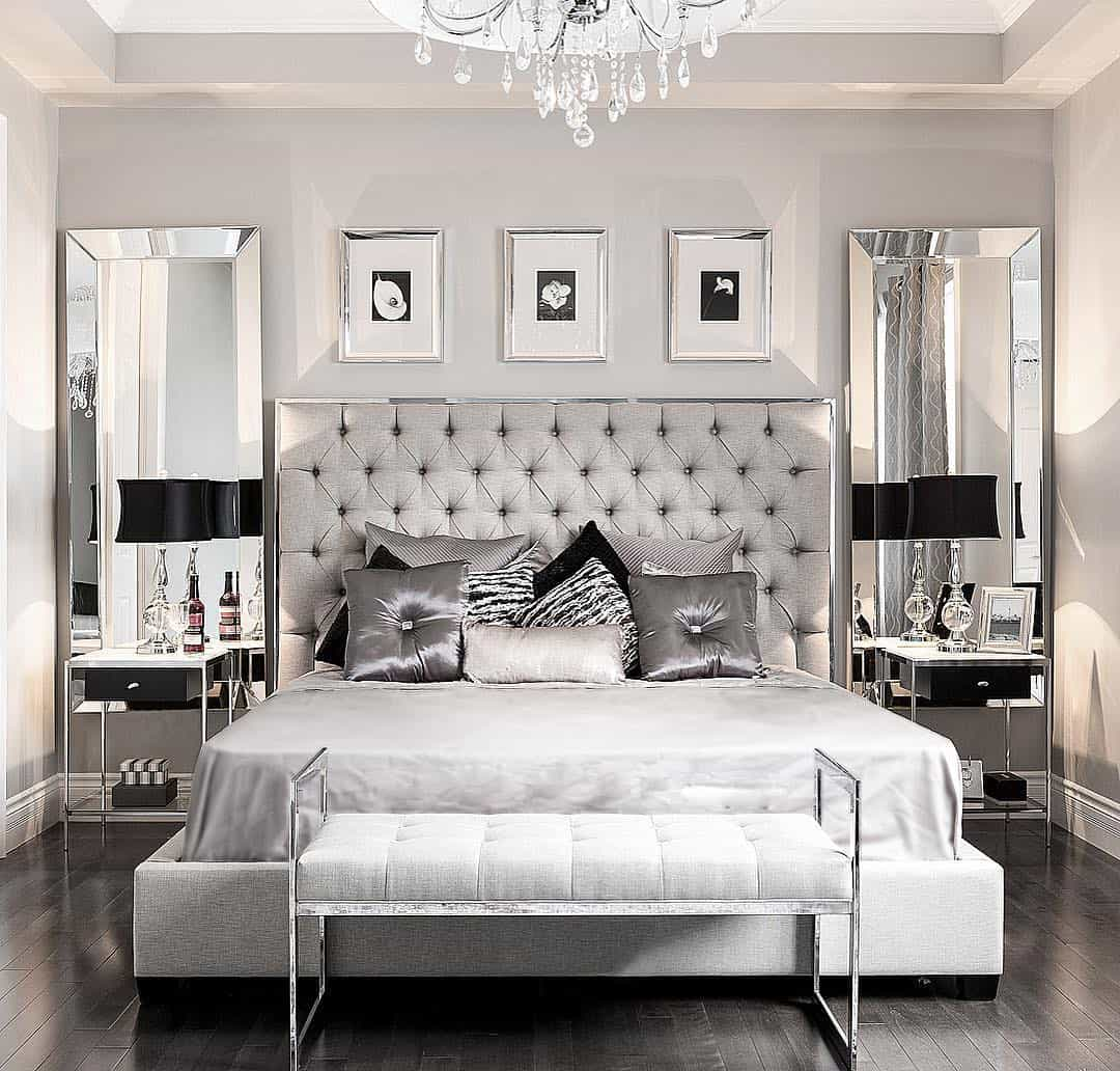 glam posh silver and grey bedroom