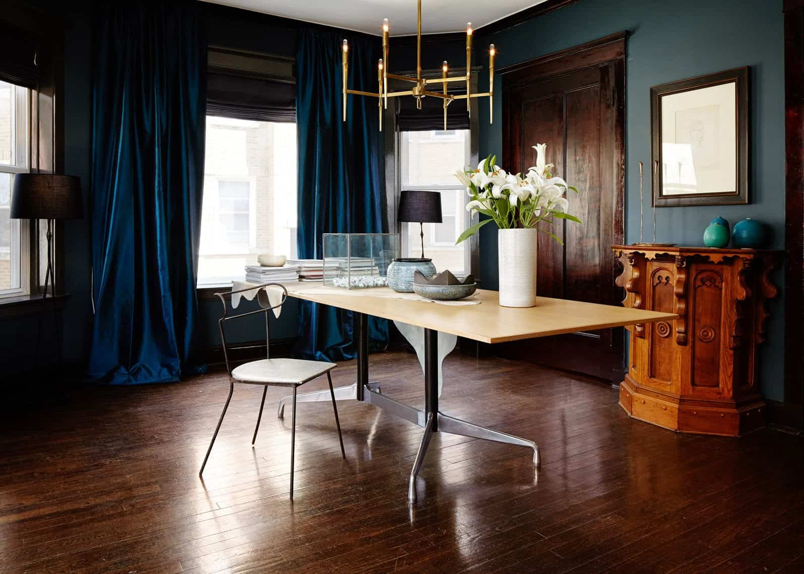 gold brass chandelier in home office