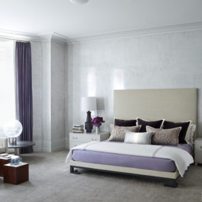 gray and lavender bedroom 285x285 40 Gray Bedrooms Youll Be Dreaming About Tonight