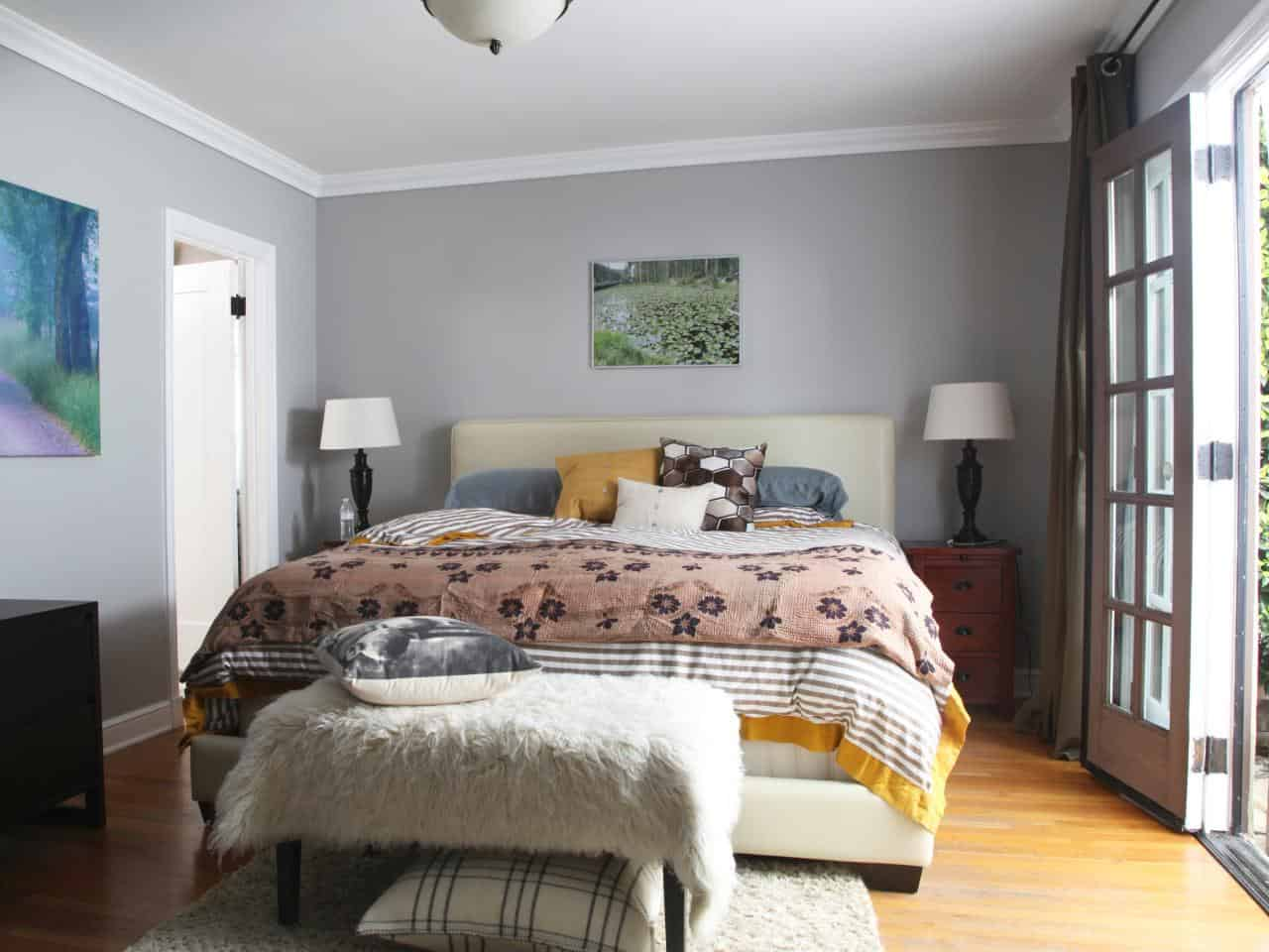 gray eclectic bedroom