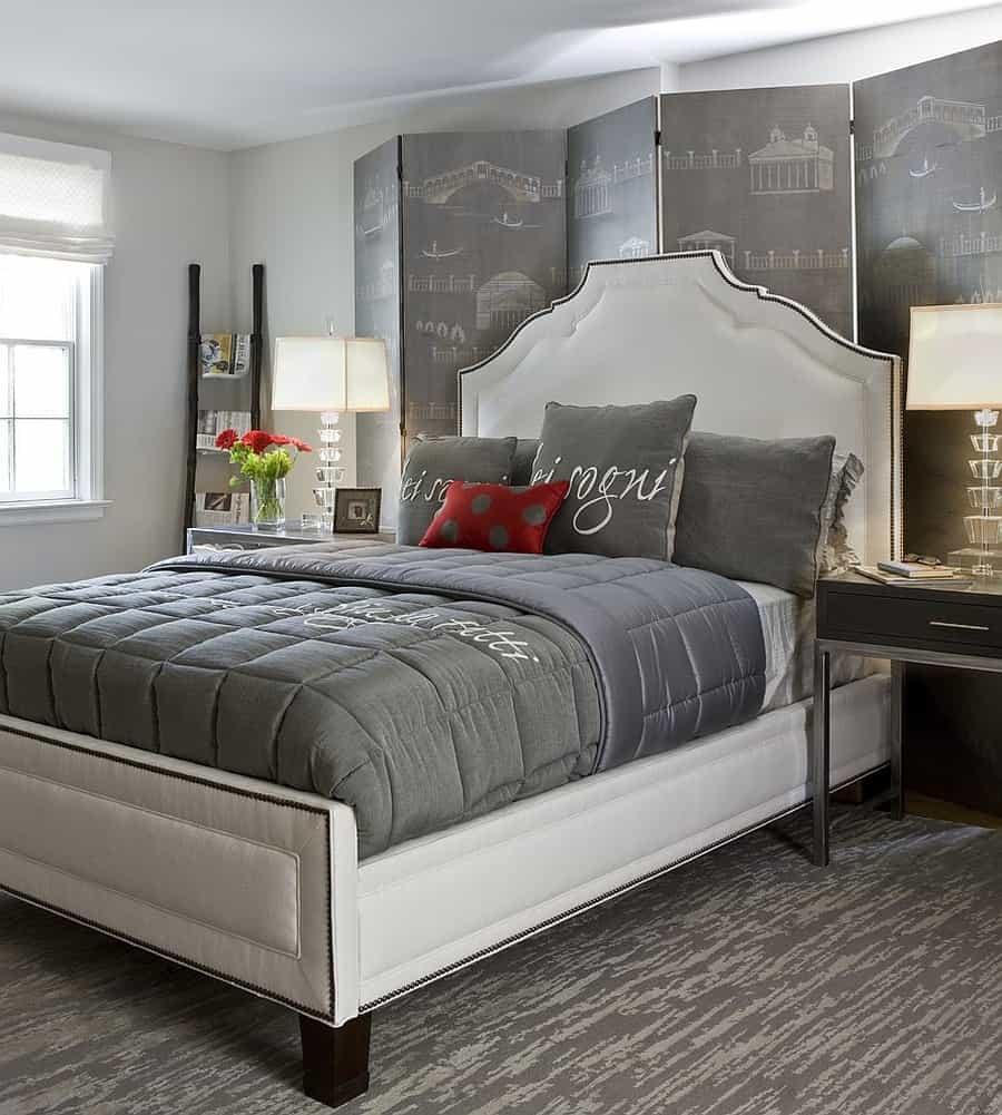 gray traditional bedroom