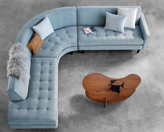 ingrid blue sectional sofa These 20 Curved Sectional Couches Are Perfect For Big Families