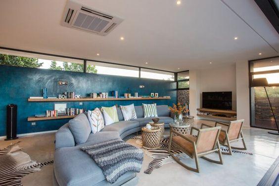 light blue curved sectionla sofa