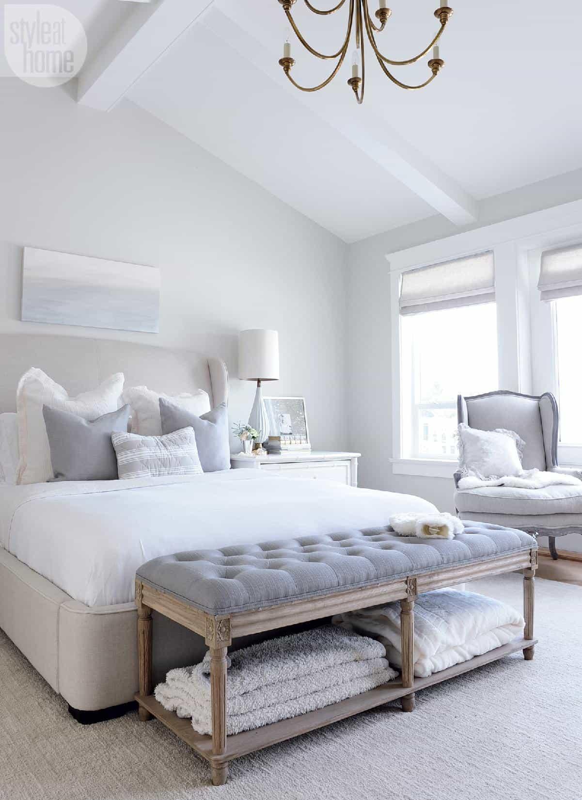 light grey calming bedroom