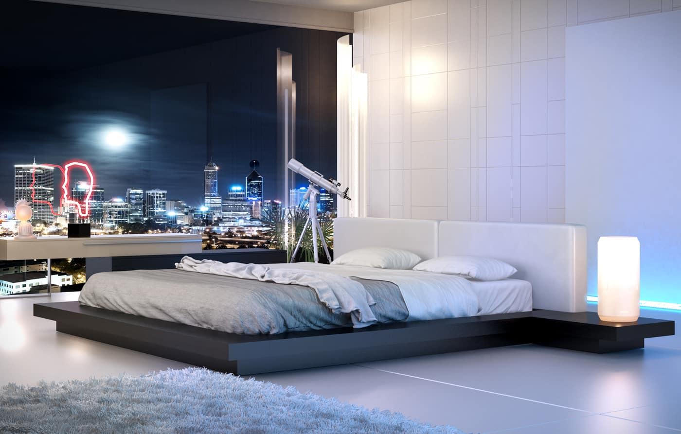 low modern platform bed