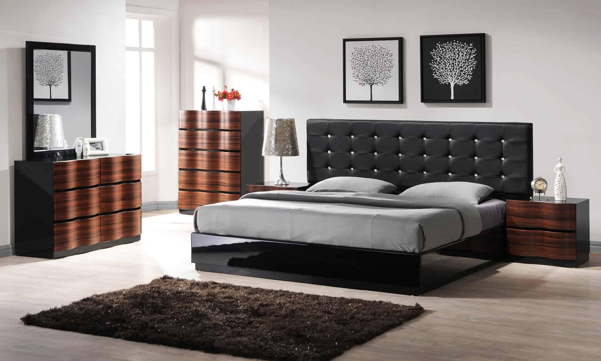 modern black tufted bed