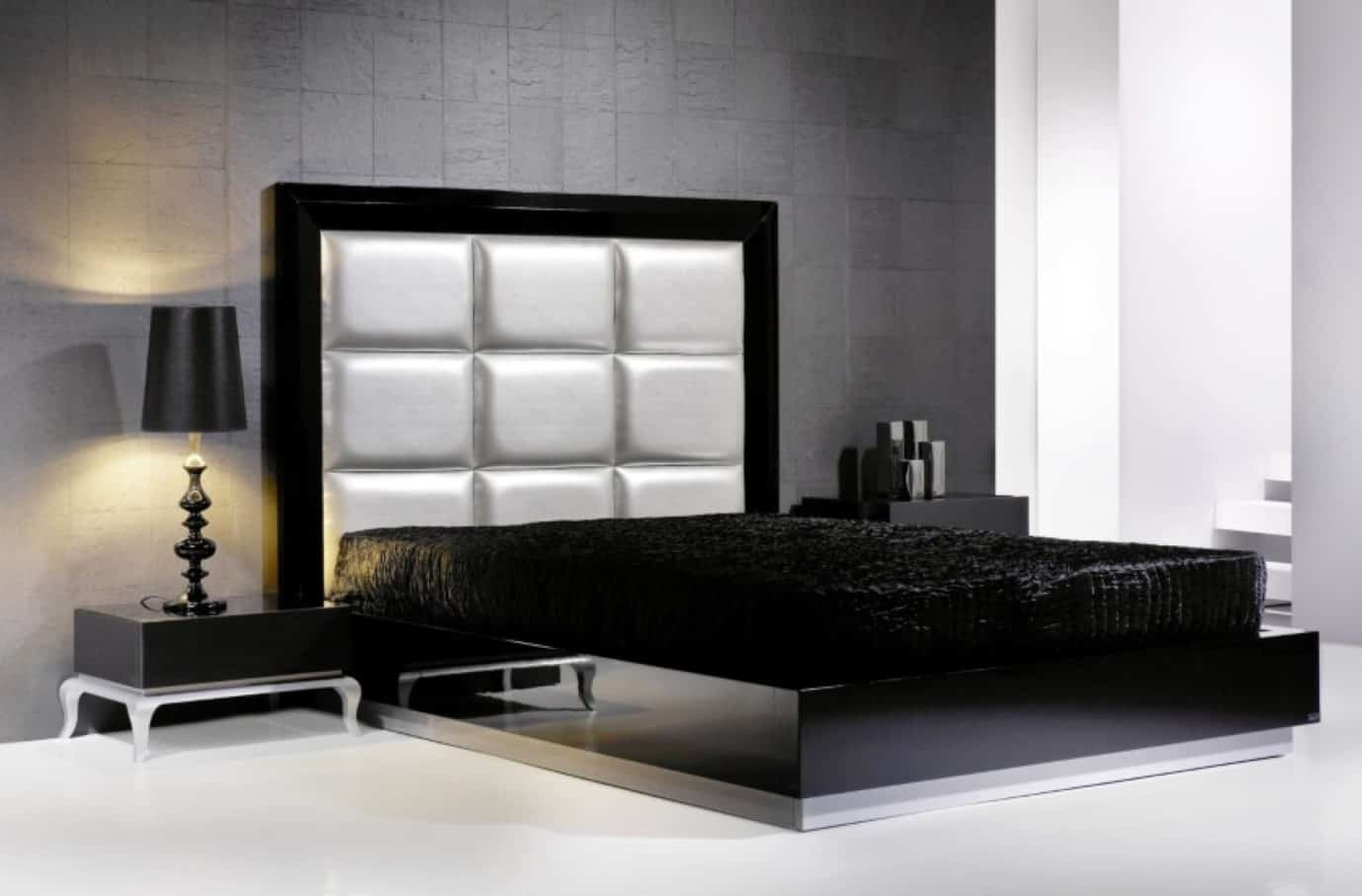 modern-leather-headboard-black-queen-size-bed-frame-stunning-bedroom-with-grey-walls-and-black-furniture-black-bedside-table-with-decorative-table-lamp
