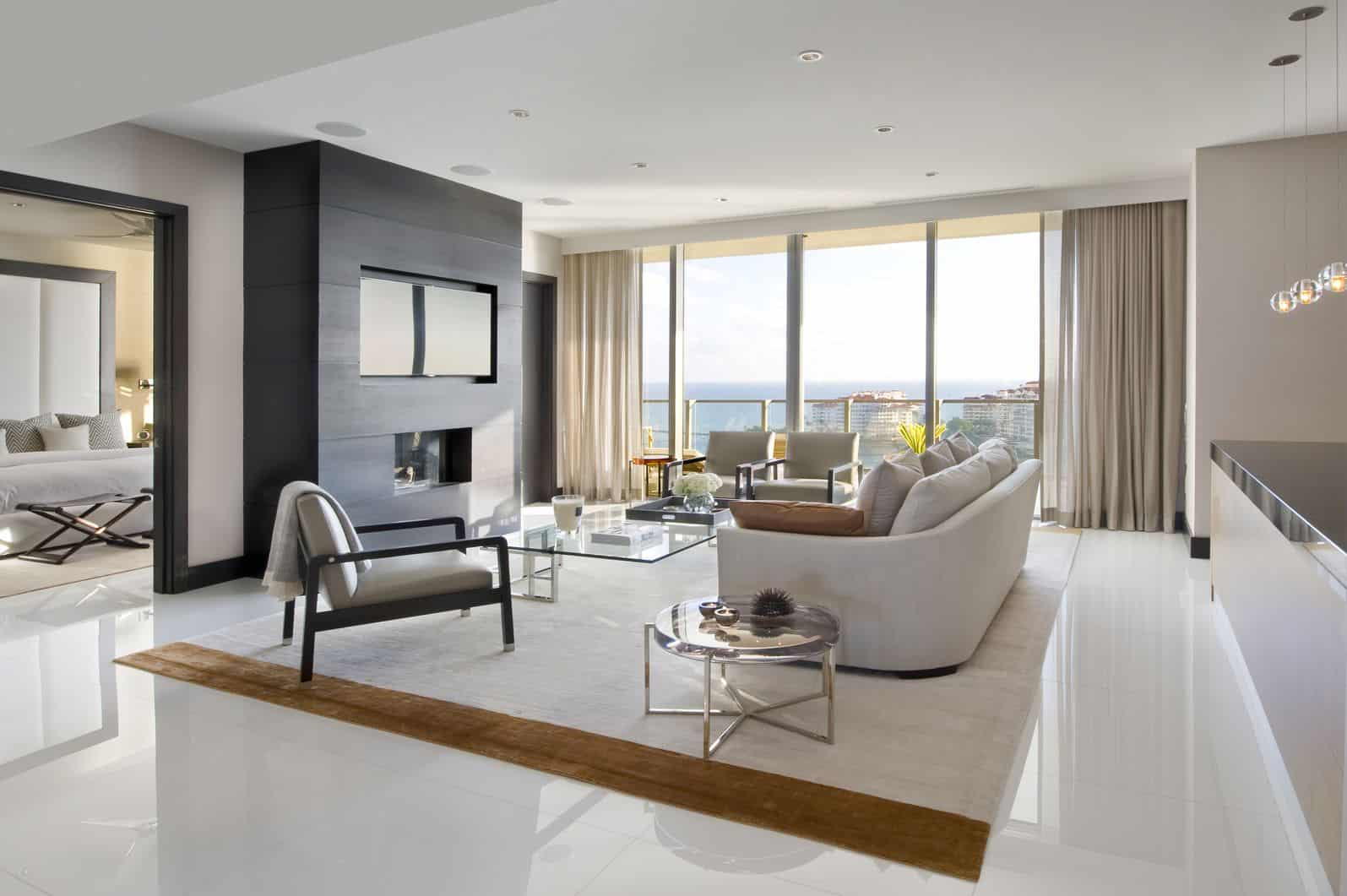 modern living room with contemporary chairs