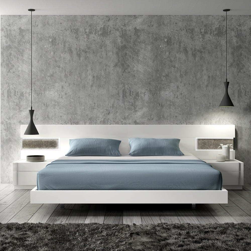 modern platform floating bed
