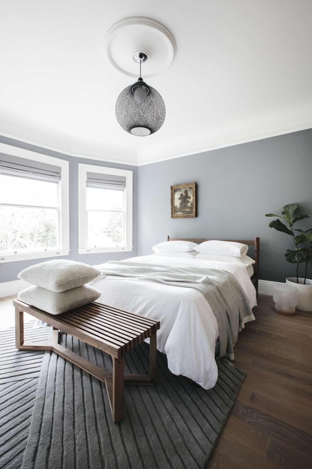 rustic neutral gray bedroom