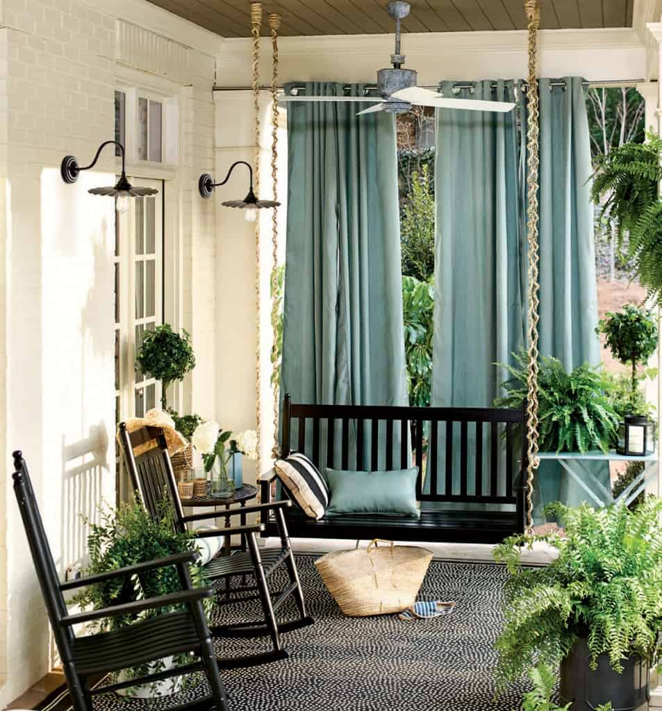 simple back porch idea with swing