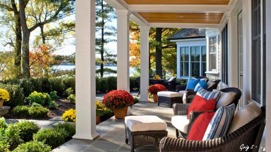 simple back porch with red color 900x506 15 Super Simple Back Porch Ideas