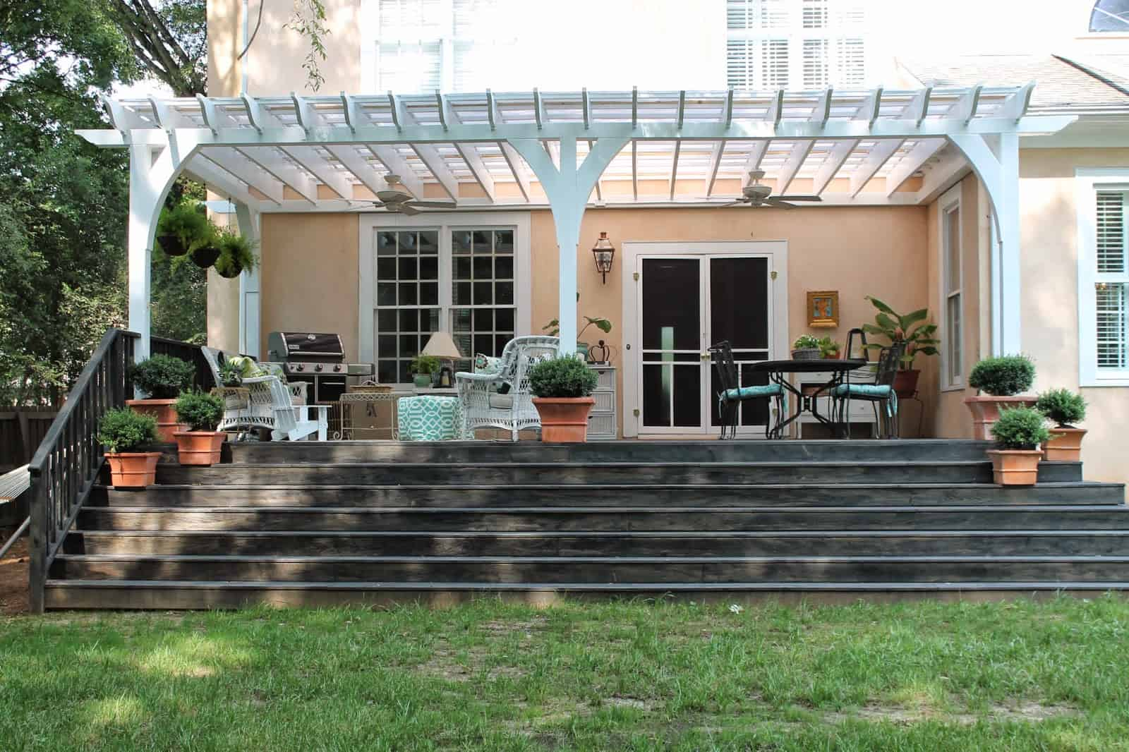 simple back porch with steps