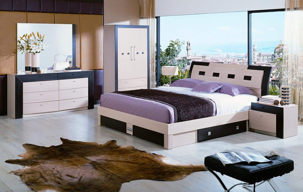 two-tone modern platform bed