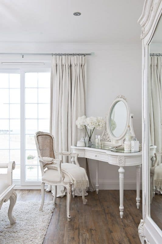 victorian feminine corner vanity