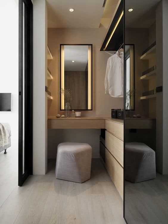 These 15 corner vanities will add a bit of luxury to your for Bedroom designs with attached bathroom and dressing room