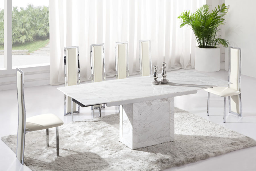 Lighten Up Dinner Time With These 15 White Dining Room Tables : white marble dining room table 900x600 from www.trendir.com size 900 x 600 jpeg 89kB