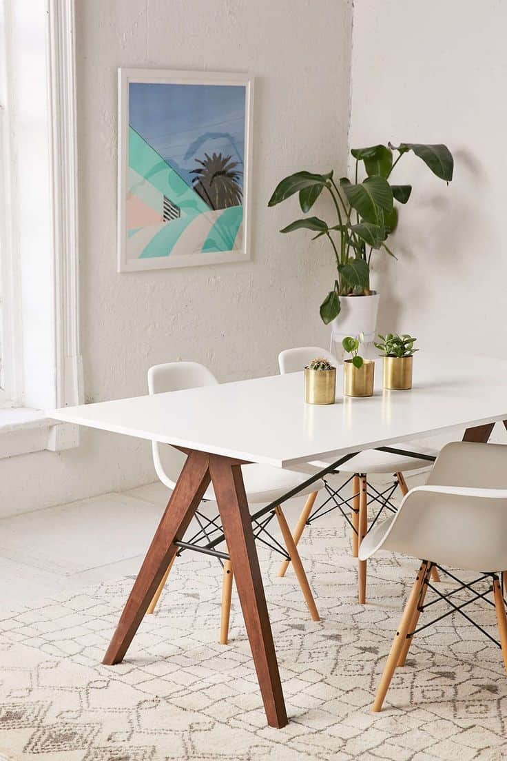 Mid Century Style Dining Room Table With Benches